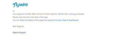 I was notified by Flywire that my funds were received. When will they be delivered to the institution?