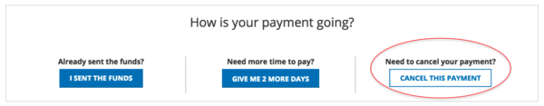 How do I cancel my payment?