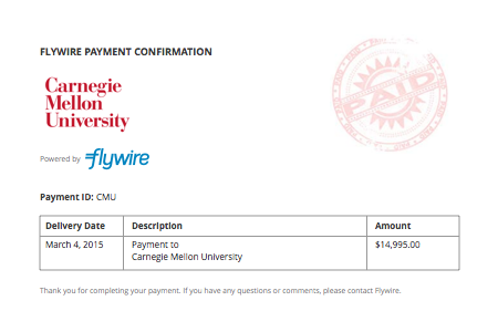 Can Flywire provide me with an invoice?