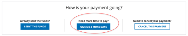 What if I can't complete the payment within the period provided?