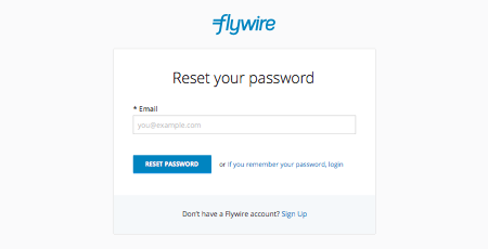 I forgot my Flywire account password. What do I do?